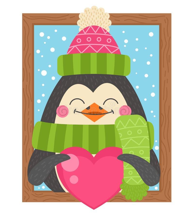 Pingouin mignon de bande dessinée tenant un coeur illustration de vecteur