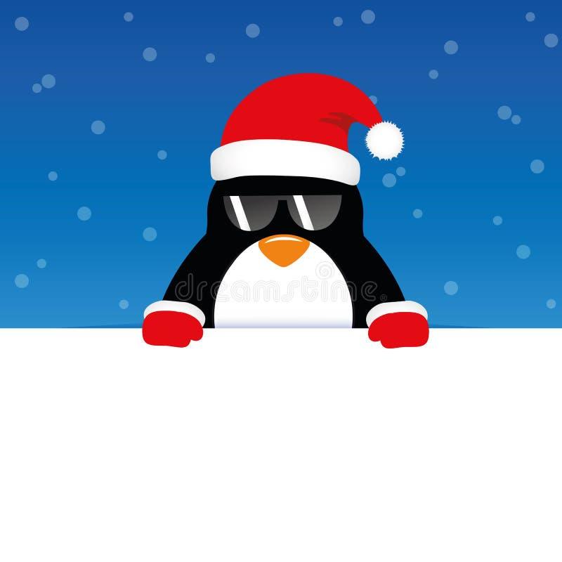 Pingouin mignon heureux avec des lunettes de soleil sur le fond neigeux bleu illustration libre de droits