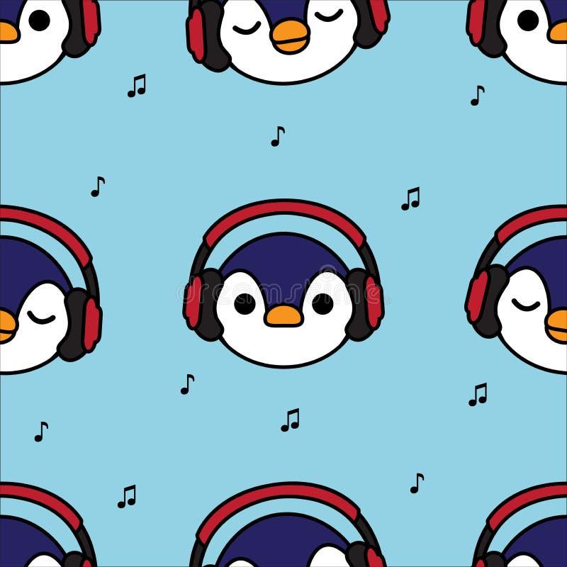 Pingouin sans couture de modèle avec les écouteurs rouges et note de musique sur le fond bleu illustration libre de droits