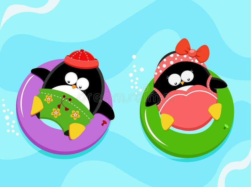 Pingouins appréciant l'eau illustration libre de droits