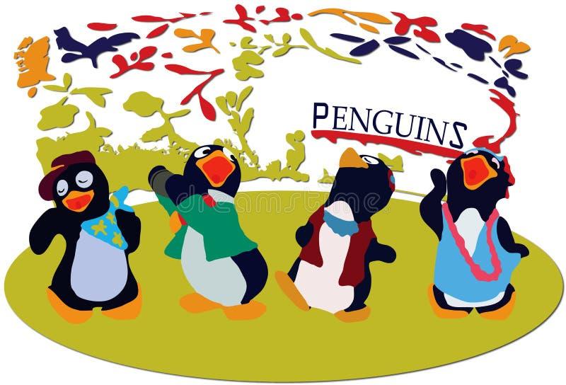 Pingouins de danse photo libre de droits