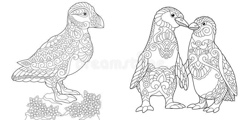 Pingouins de macareux et d'empereur de Zentangle illustration de vecteur