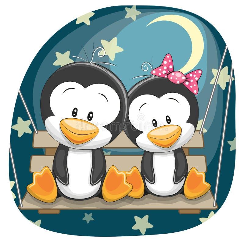 Pingouins mignons d'amants illustration stock
