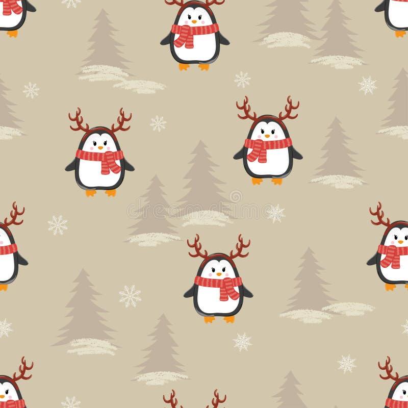 Pingouins mignons de bande dessinée avec le modèle sans couture de klaxons de cerfs communs illustration stock