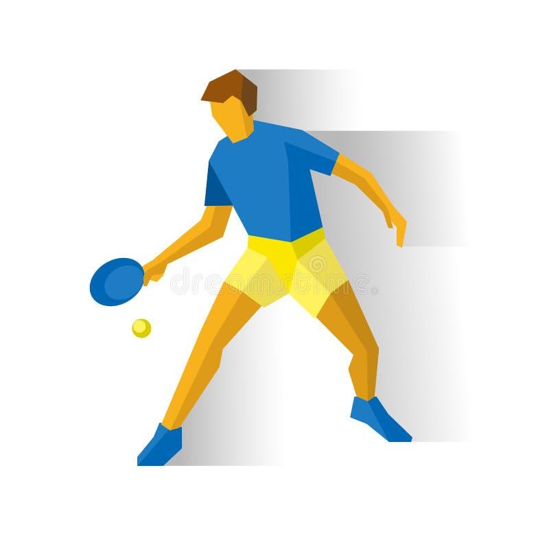 Pingpongspeler Sportman met racket en bal vector illustratie