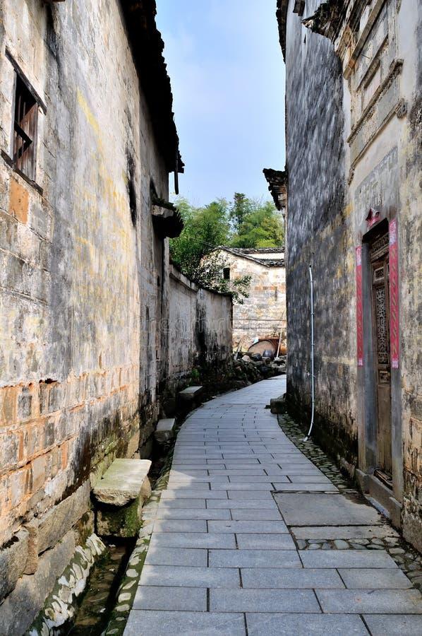 Pingshan by av forntida byar i Kina arkivfoto