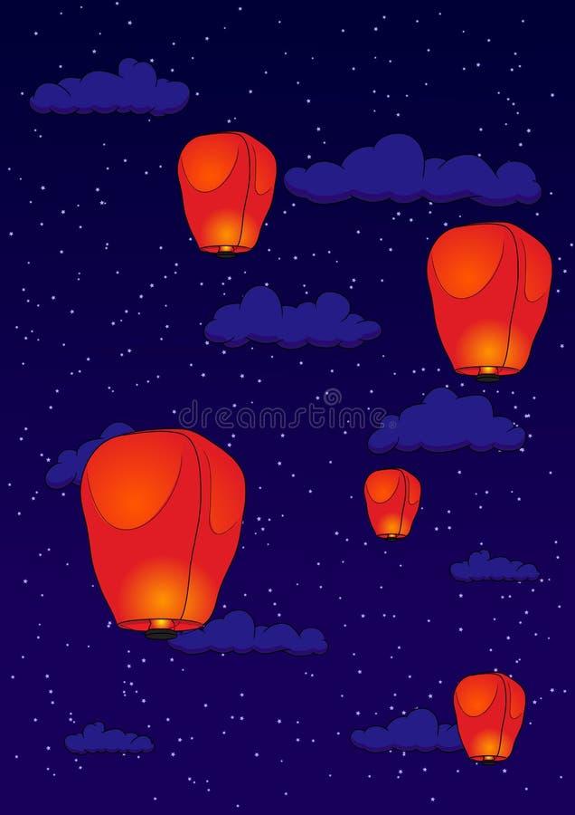 PingSi lykta på natten stock illustrationer