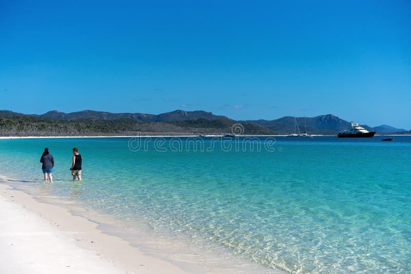 PINGSTDAGAR AUSTRALIEN - AUGUSTI 24TH: Turister som tycker om det klara blåa vattnet och den vita silikonsanden av den Whitehaven fotografering för bildbyråer