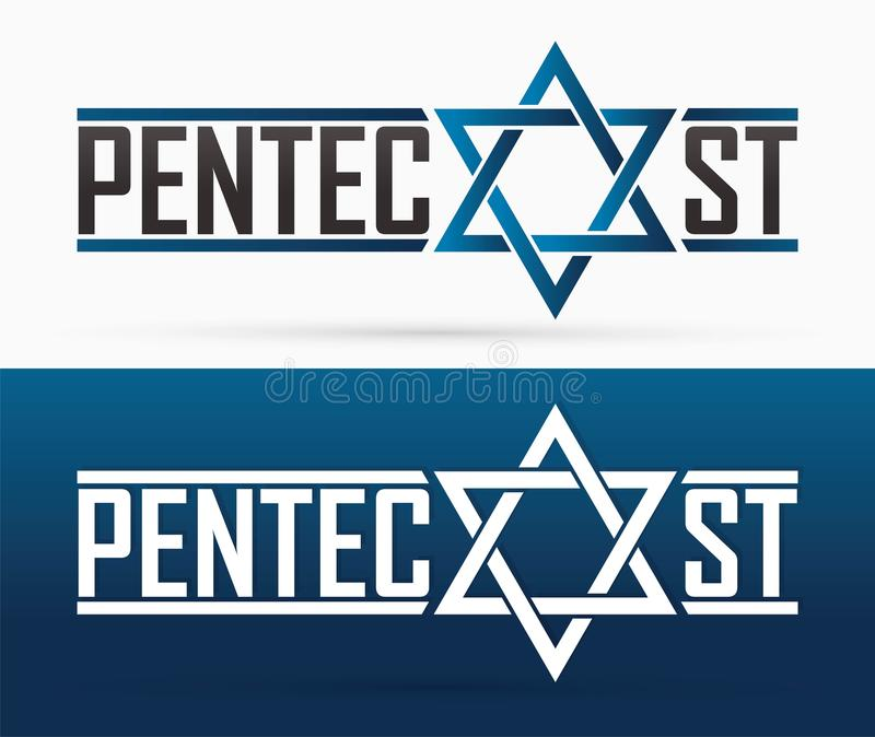 Pingstdagentext med diagrammet f?r Israel stj?rna och f?r helig ande duva royaltyfri illustrationer