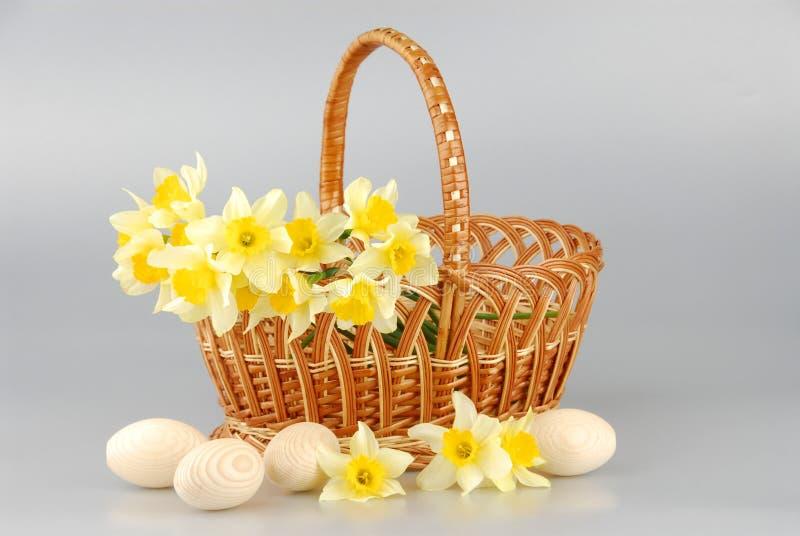 Pingstliljakorg, easter ägg i korg, för pingstliljablomma för vår gula kvinnor eller moderdag arkivbild