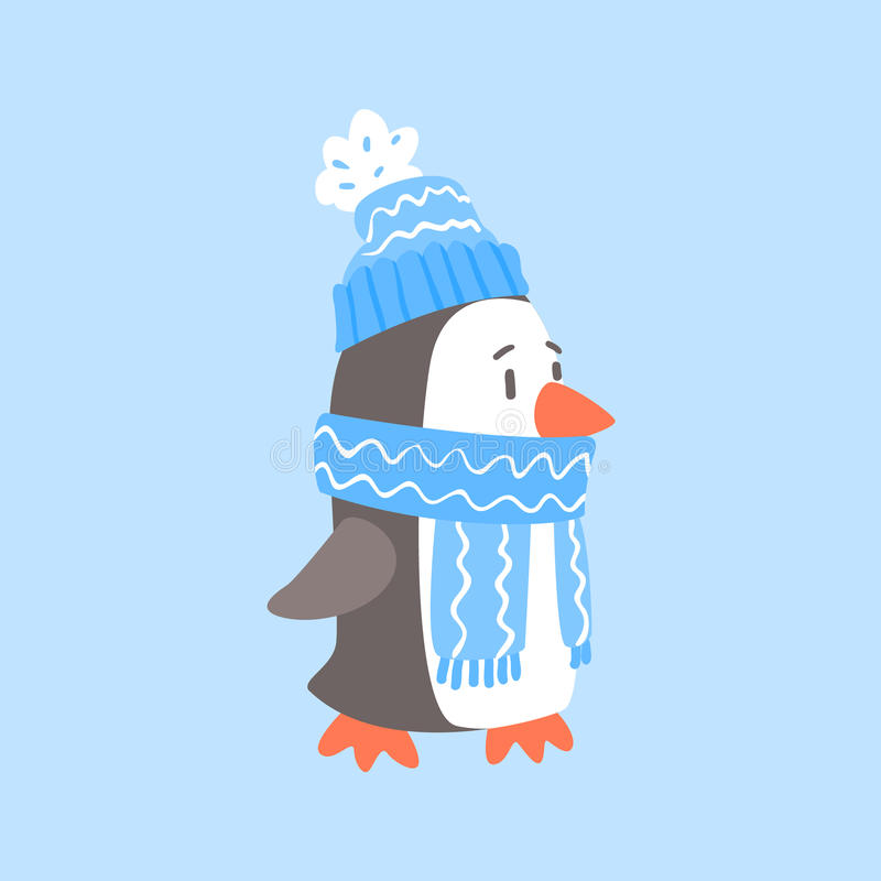 Pinguïn in Blauwe Sjaal en Hoed, Noordpooldier Gekleed in het Beeldverhaalkarakter van de Winter Menselijk Kleren stock illustratie