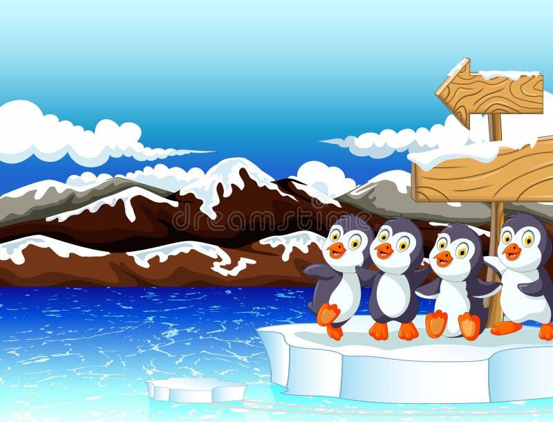 Pinguïn boven de ijsberg met een leeg houten uithangbord stock illustratie