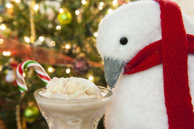 Pinguïn en Suikergoed Cane Ice Cream stock afbeelding