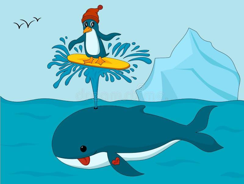 Pinguïn in hoed die op het spuiten van de walvis surfen royalty-vrije illustratie
