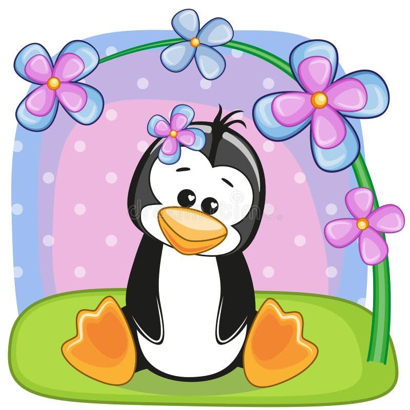 Pinguïn met bloemen royalty-vrije illustratie