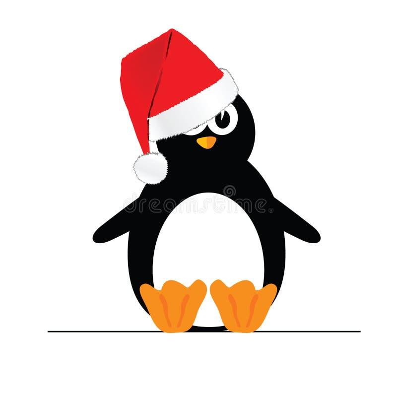 Pinguïn met Kerstmishoed royalty-vrije illustratie
