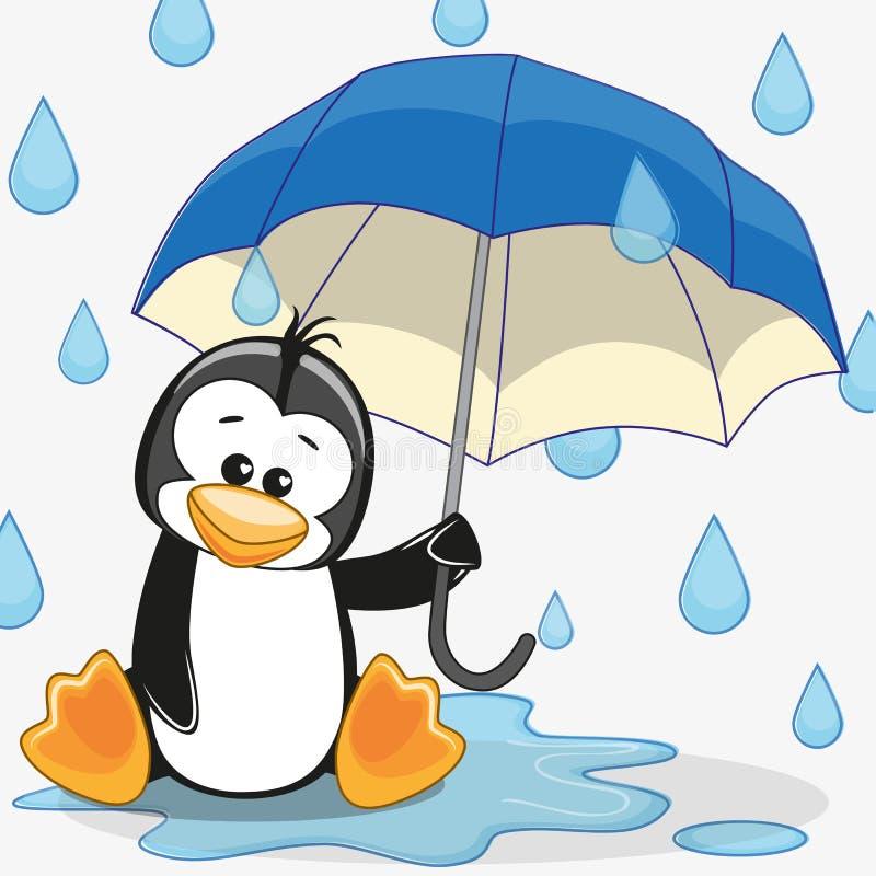 Pinguïn met paraplu royalty-vrije illustratie