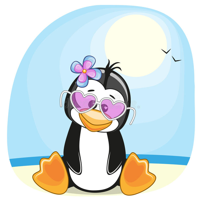 Pinguïn op het strand royalty-vrije illustratie