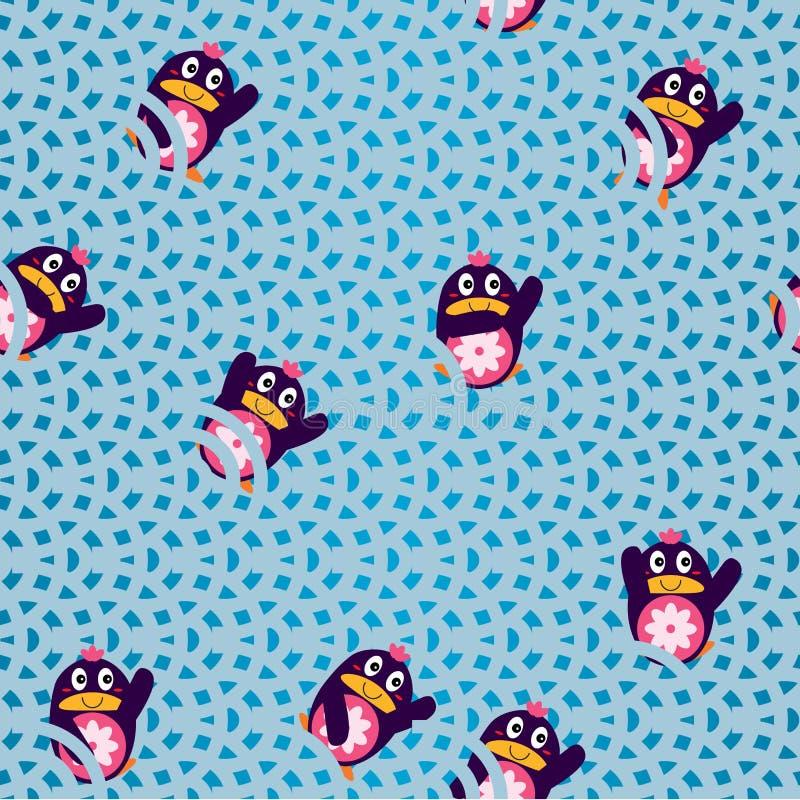 Pinguïn zij hello naadloos patroon stock illustratie