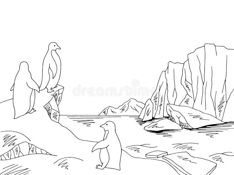 Pinguïnen in Antarctica bij de vector van de het landschapsillustratie van de ijsberg grafische zwarte witte schets royalty-vrije illustratie