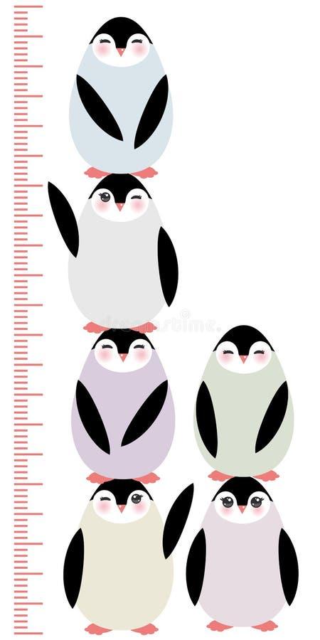 Pinguïnen op de witte meter van de achtergrondkinderenhoogte vector illustratie
