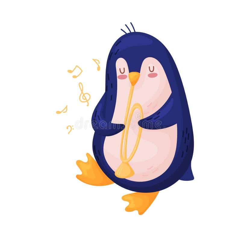 Pinguim bonito com uma tubulação Ilustra??o do vetor no fundo branco ilustração do vetor