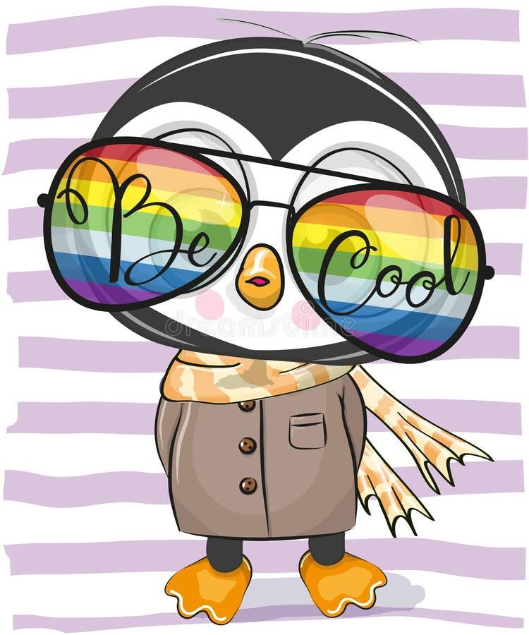 Pinguim bonito com vidros de sol ilustração do vetor