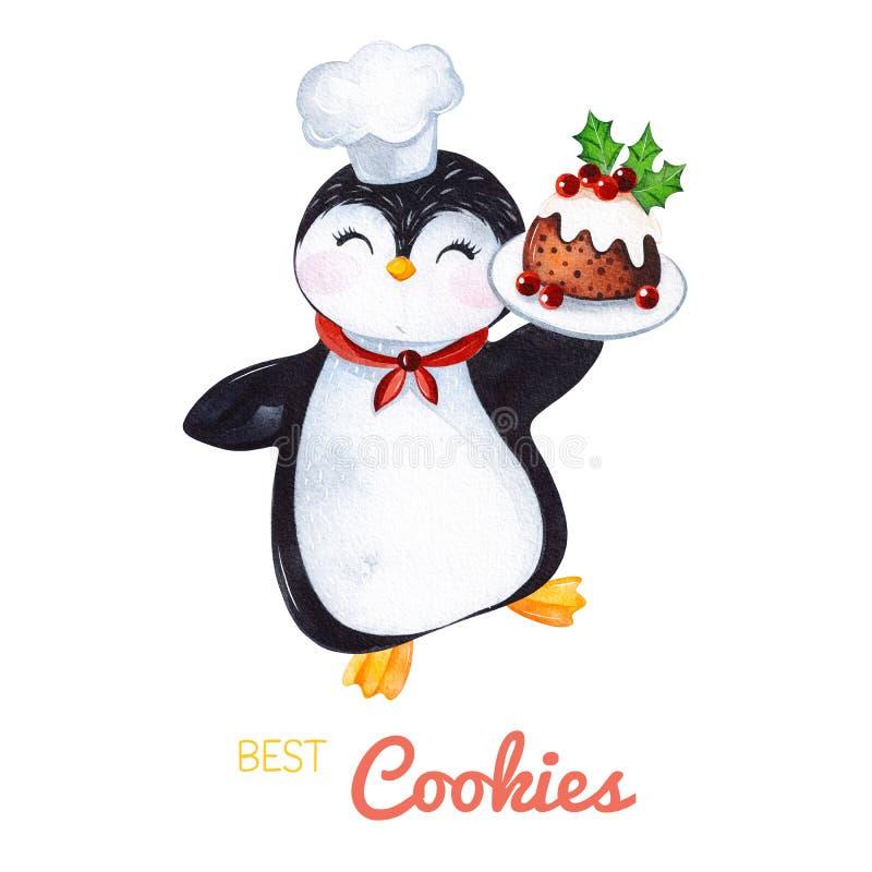 Pinguim bonito da aquarela com pudim do Natal ilustração stock