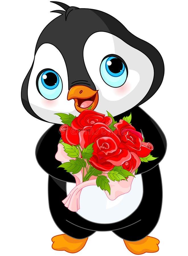 Pinguim bonito do dia de são valentim ilustração do vetor