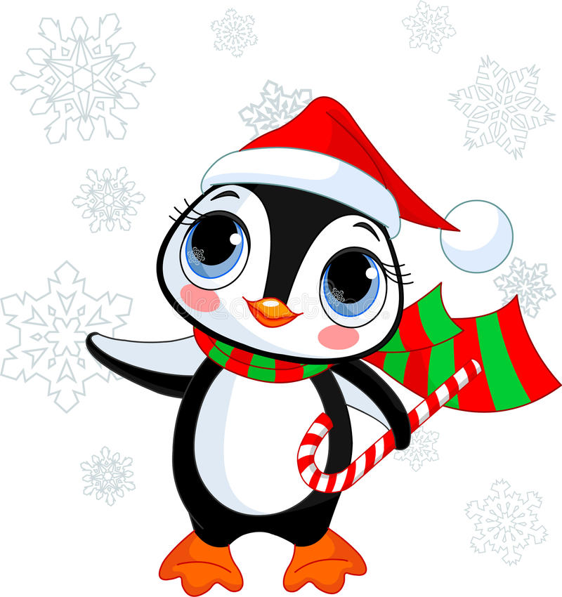 Pinguim bonito do Natal ilustração stock