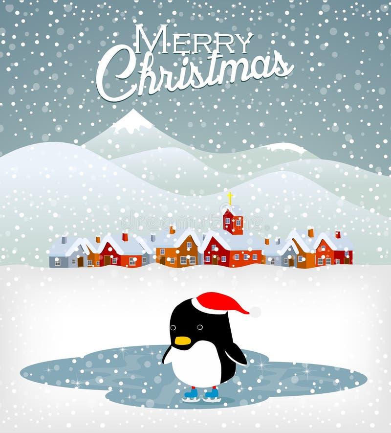 Pinguim bonito do Natal ilustração do vetor