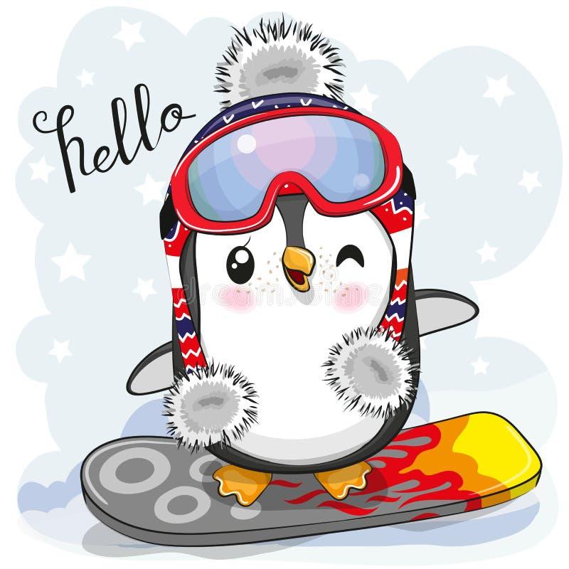 Pinguim bonito dos desenhos animados em um snowboard ilustração royalty free