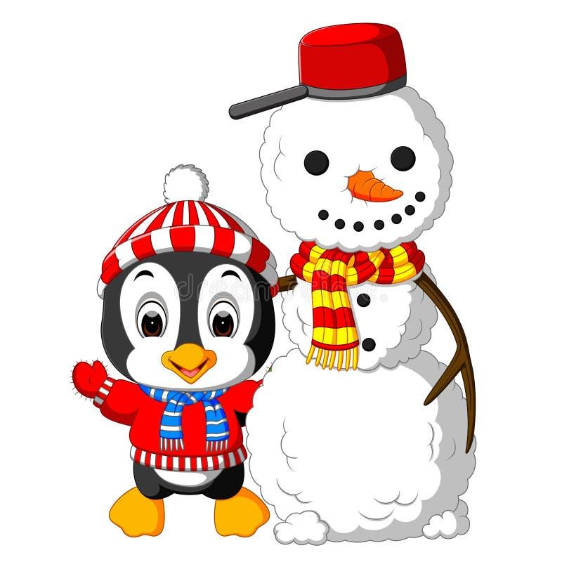 Pinguim bonito e boneco de neve ilustração royalty free
