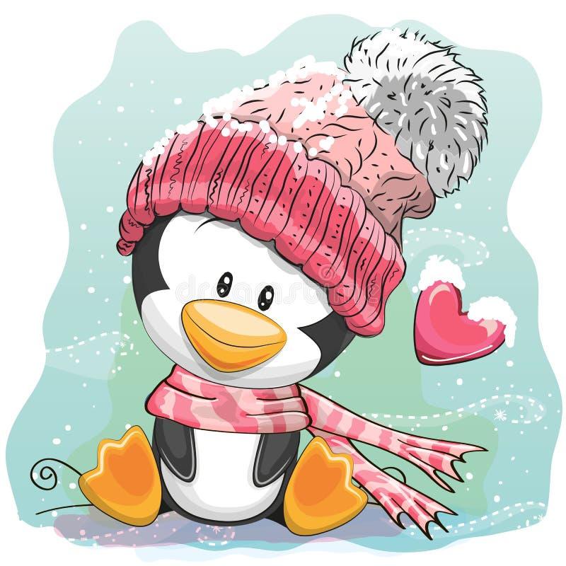 Pinguim bonito em um tampão feito malha ilustração do vetor