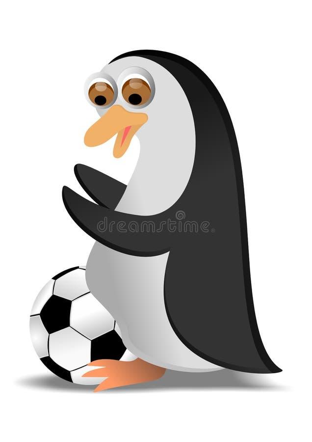 Pinguim com bola ilustração do vetor