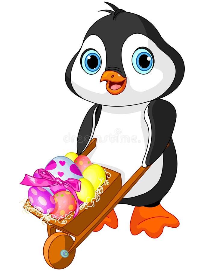 Pinguim com carrinho de mão da Páscoa ilustração do vetor
