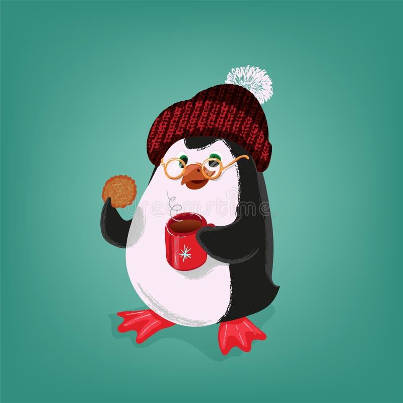 Pinguim com cookie e copo da ilustração alegre do vetor do T ilustração royalty free
