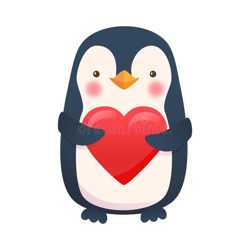 Pinguim com coração ilustração do vetor