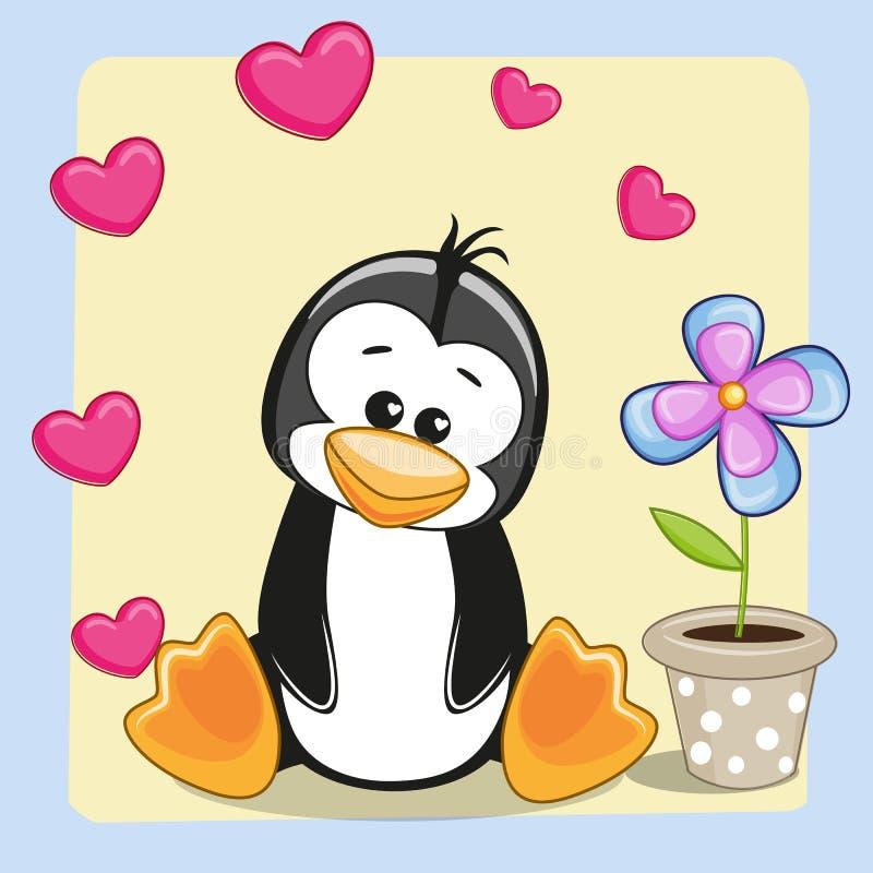 Pinguim com coração e flor ilustração do vetor