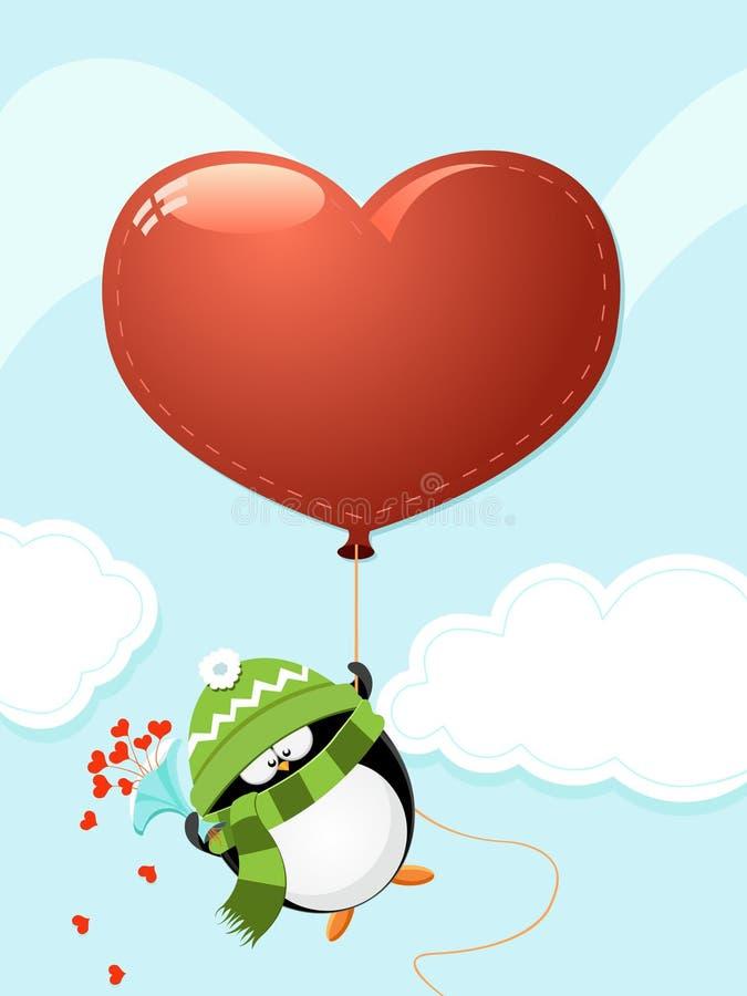 Pinguim com coração grande ilustração stock