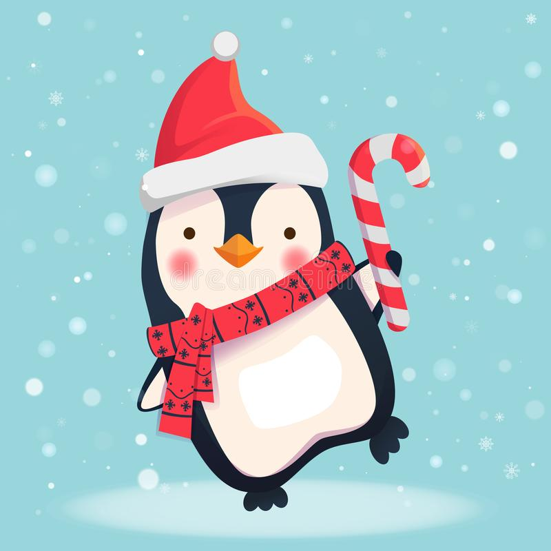 Pinguim com doces do Natal ilustração royalty free
