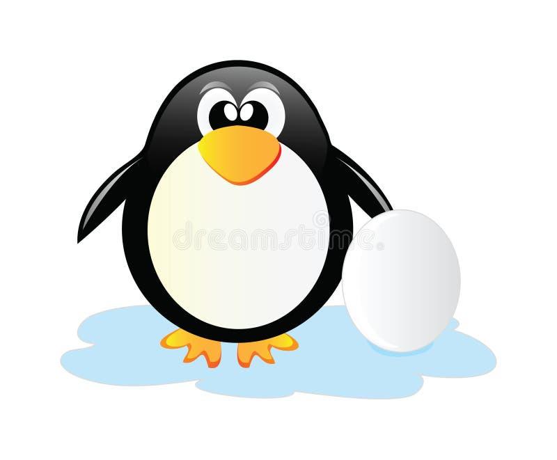 Pinguim com ovo ilustração royalty free