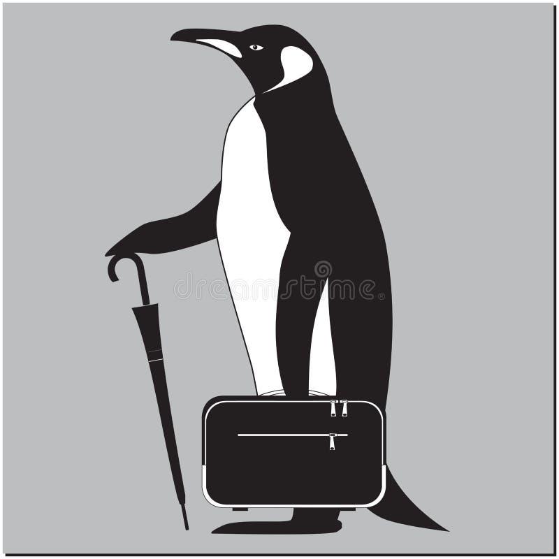 Pinguim com pasta ilustração do vetor