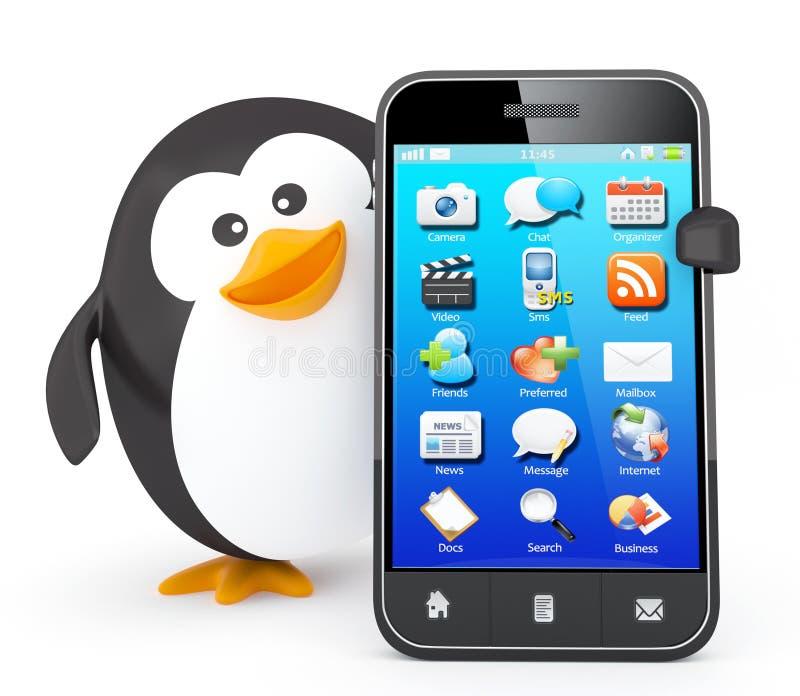 Pinguim com smartphone ilustração stock