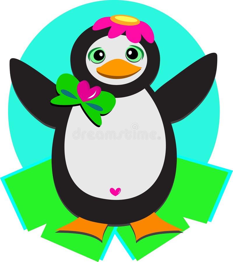 Pinguim com tampão da flor ilustração do vetor