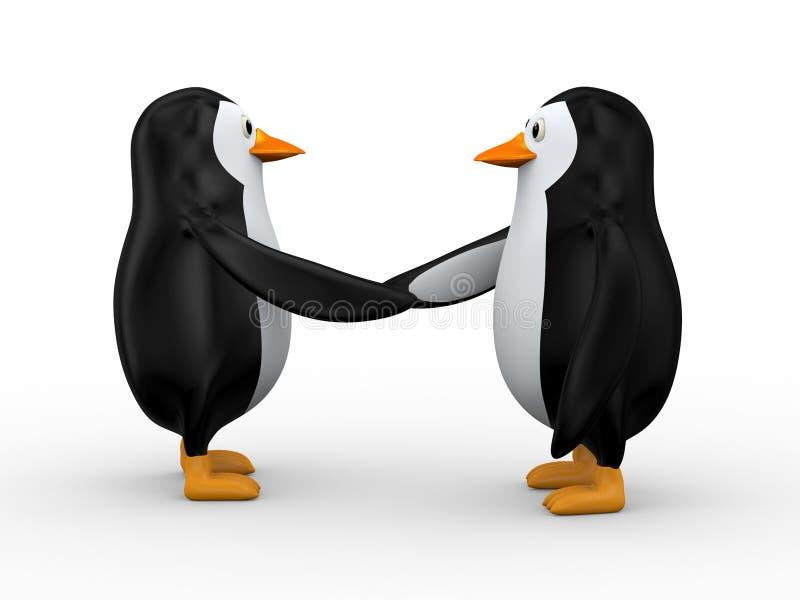 pinguim 3d que agita a mão ilustração royalty free