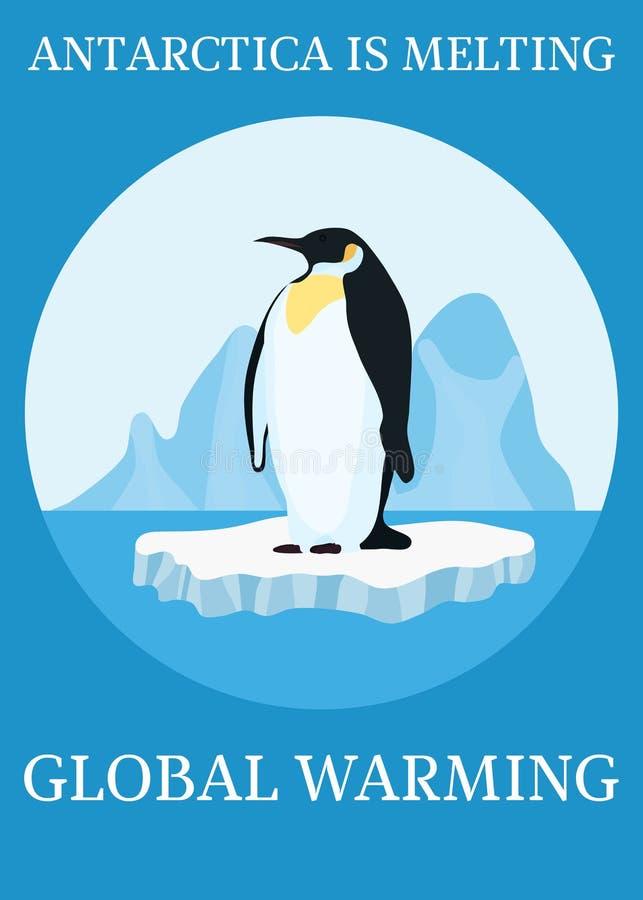 Pinguim da proteção do clima do cartaz no iceberg ilustração stock