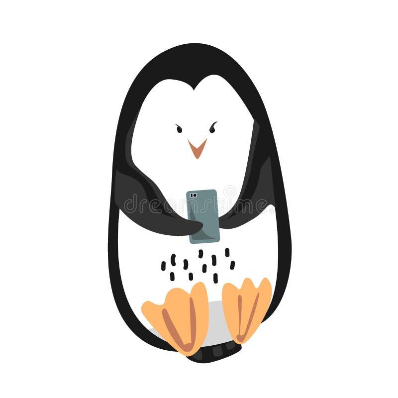 Pinguim de imperador engraçado bonito com o telefone celular isolado no fundo branco Ilustra??o do vetor ilustração stock