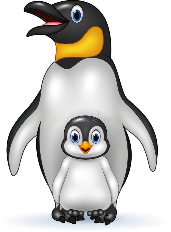 Pinguim de imperador feliz com bebê ilustração royalty free
