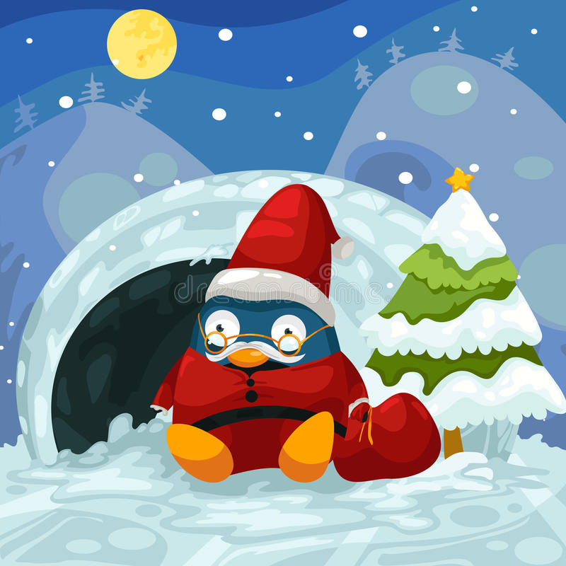 Pinguim de Santa ilustração royalty free